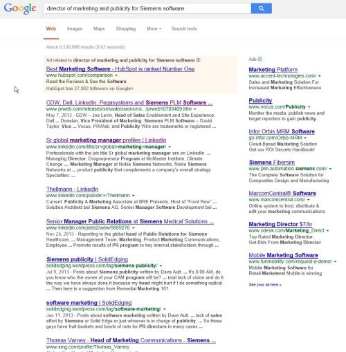 Google siemens pr hunt page