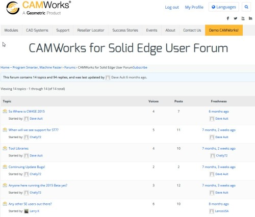 Solid Edge CAMWorks forum posts